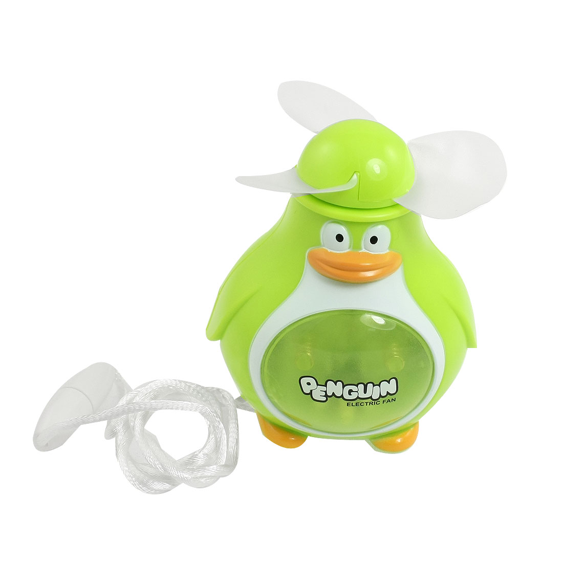 Tabletop Yellow Light Plastic Penguin Mini Pocket Fan Yellow-green
