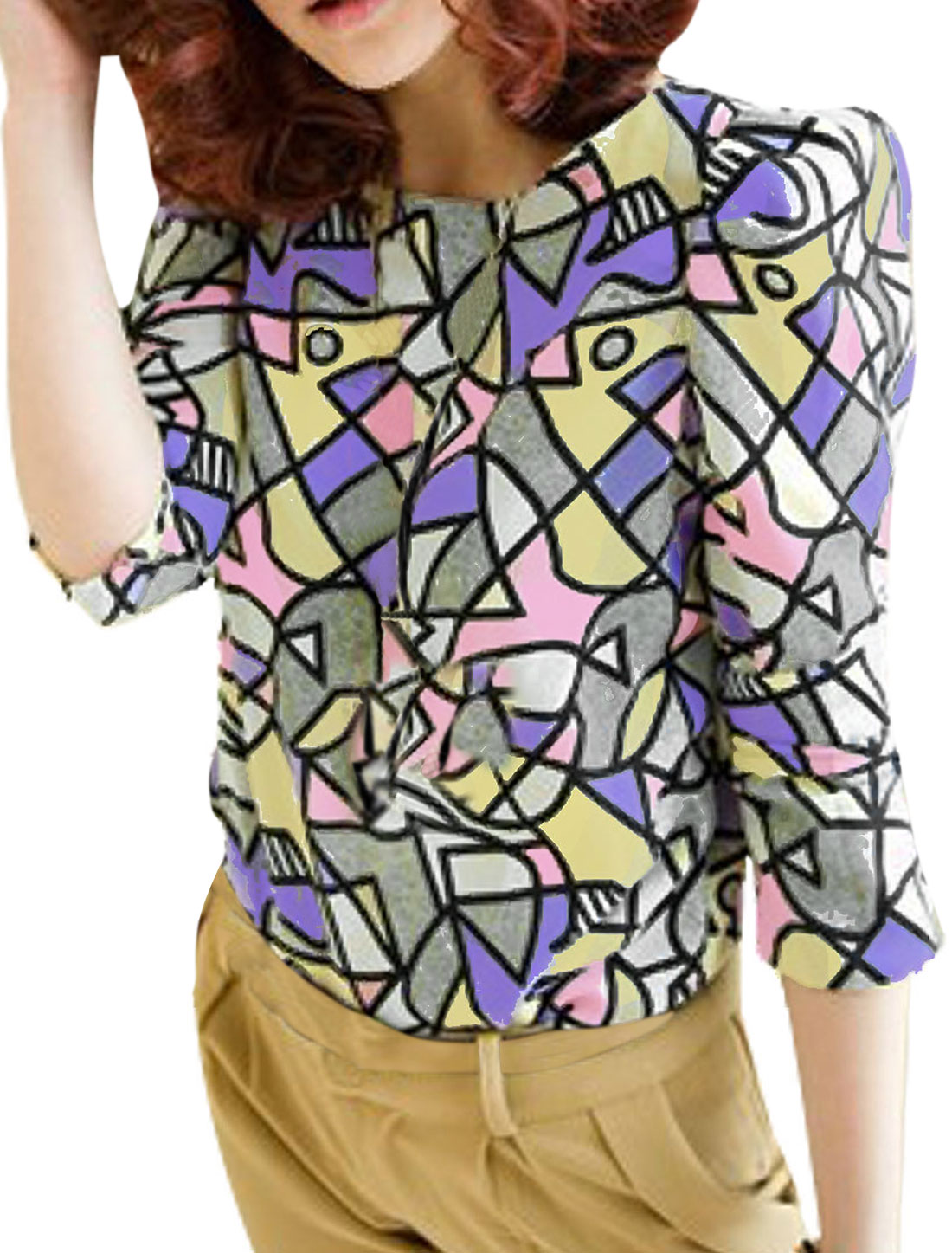 Ladies Multicolor Scoop Neck Long Sleeve Geometric Prints Blouse XS