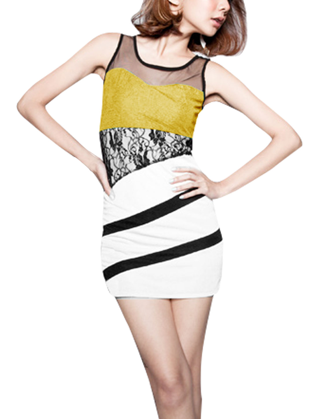 Women Scoop Neck Sleeveless Stripes Mesh Upper Form-fitting Dress Yellow XS