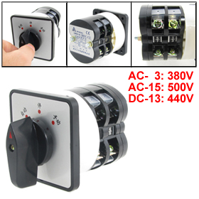 AC380V 12A on/off/on 3 Position Rotary Cam Universal Changeover Switch