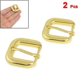 2 Pcs Metal Rectangular High Heel Shoes Component Buckles Gold Tone