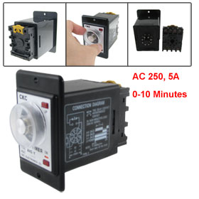 AC 220V 0-10 Minutes Time Range Power On Timer Time Relay with Socket