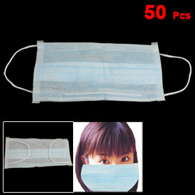 50 Pcs Elastic Ear Loop 3 Ply Medical Surgical Dust Disposable Face Masks