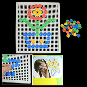 Insert Bead 4 Color Mushroom Nail Flower Pattern Building Block Toy for Child