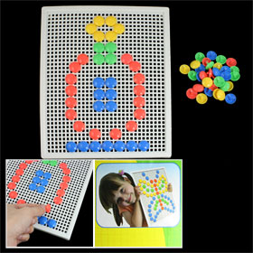 Children Plastic 4 Colors Mushroom Nail Pegboard Block DIY Puzzle Toy