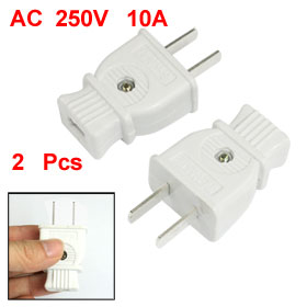 2pcs AC 250V 10A 2 Pin US USA Power Cord Plug Replacement White
