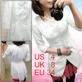 Women White Button up Scoop Neck Half Sleeve Belted Coat S