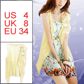 Lady Light Yellow Elastic Band Back Irregular Hem Summer Vest S