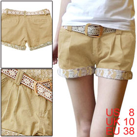 Lady Khaki Slant Pockets Front Decorative Pockets Back Cuffed Shorts Trousers M