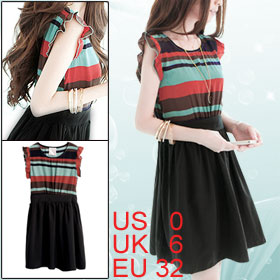 Ladies Scoop Neck Multicolor Striped Upper Elastic Waist Dress XS