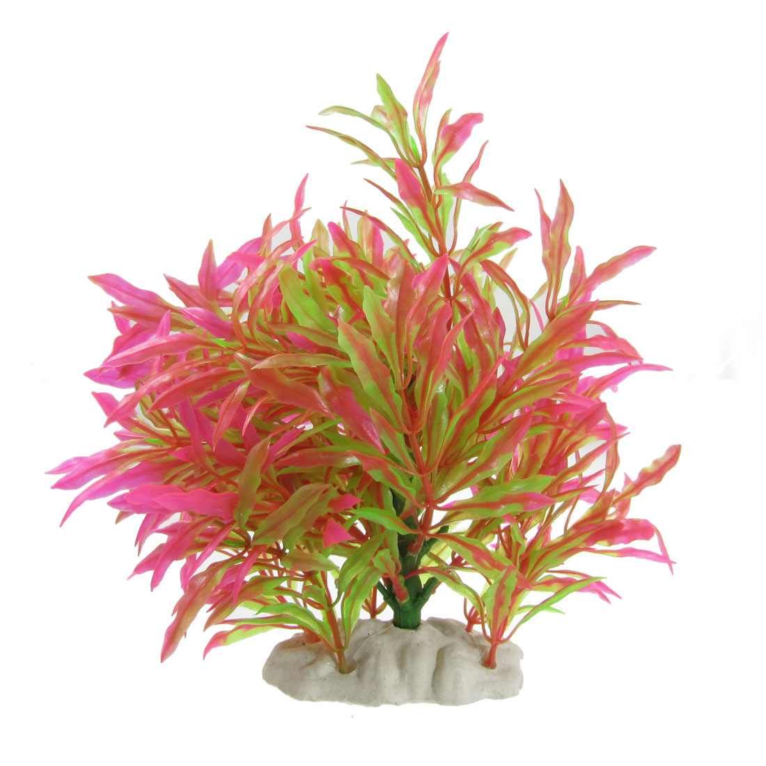 "7.1"" Height Artificial Aquatic Plant Shocking Pink Green for Fish Tank"