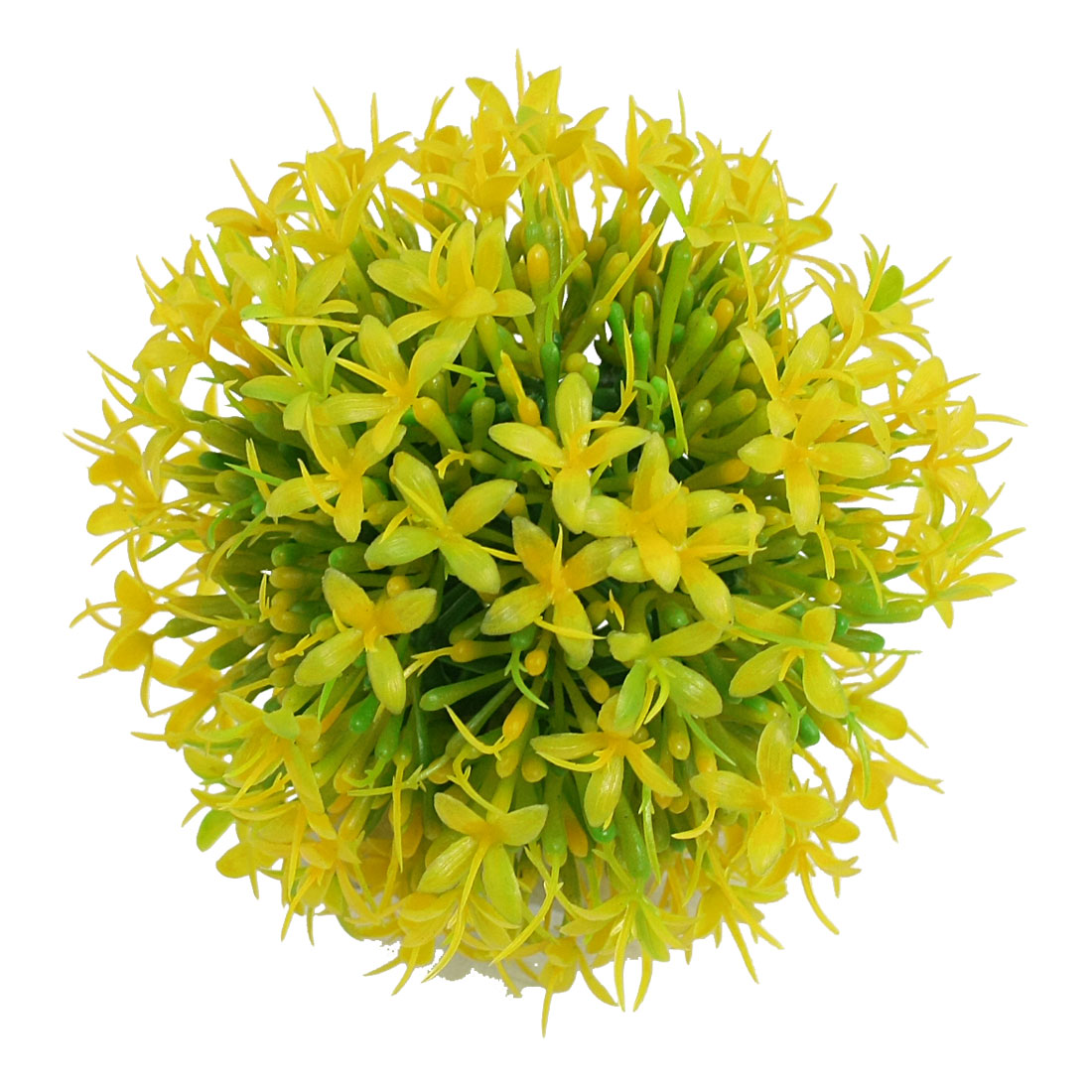 "Yellow Green Plastic Ball Flower Plant 3.7"" for Aquarium Fish Tank"
