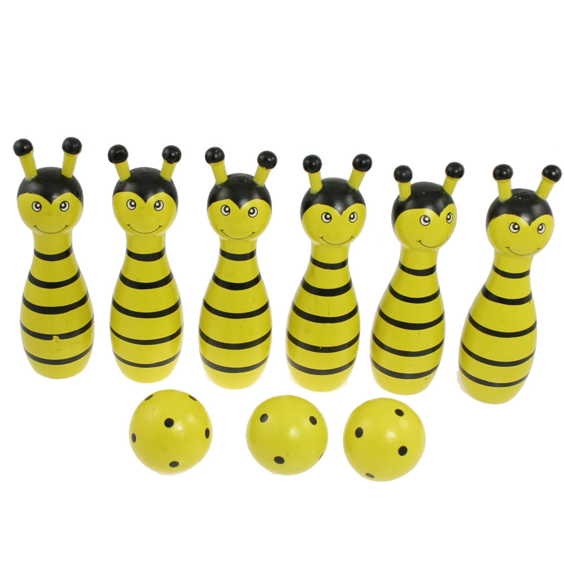 Cartoon Bee Shaped 6 Pins 3 Balls Bowling Game Toy Yellow Black for Child