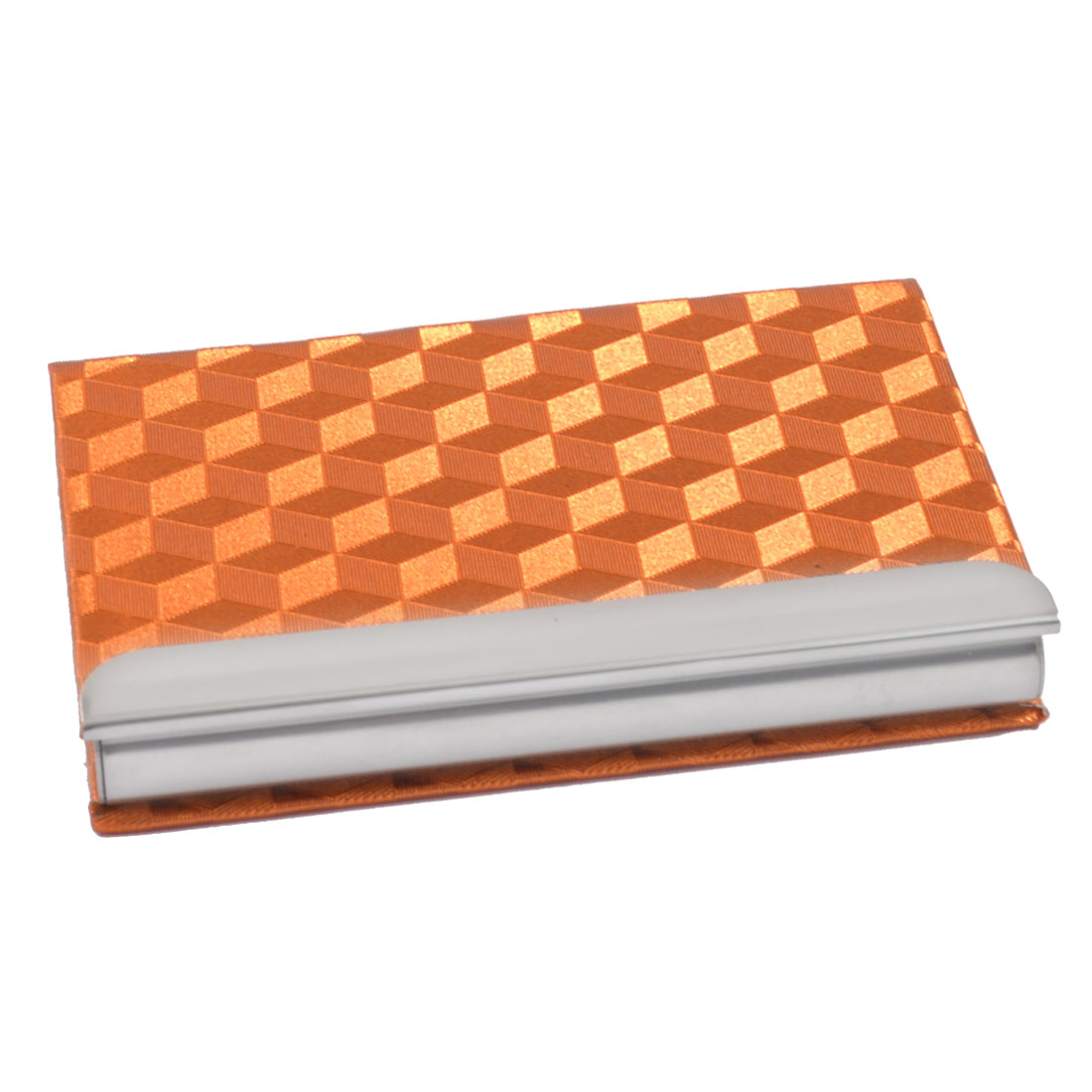 Faux Leather Coated Magnetic Textured Name Business Card Case Orange