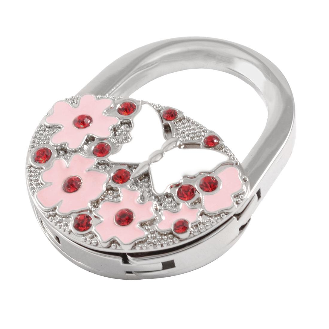 Pink Flower White Butterfly Pattern Rhinestone Inlay Foldable Padlock Handbag Hook Hanger