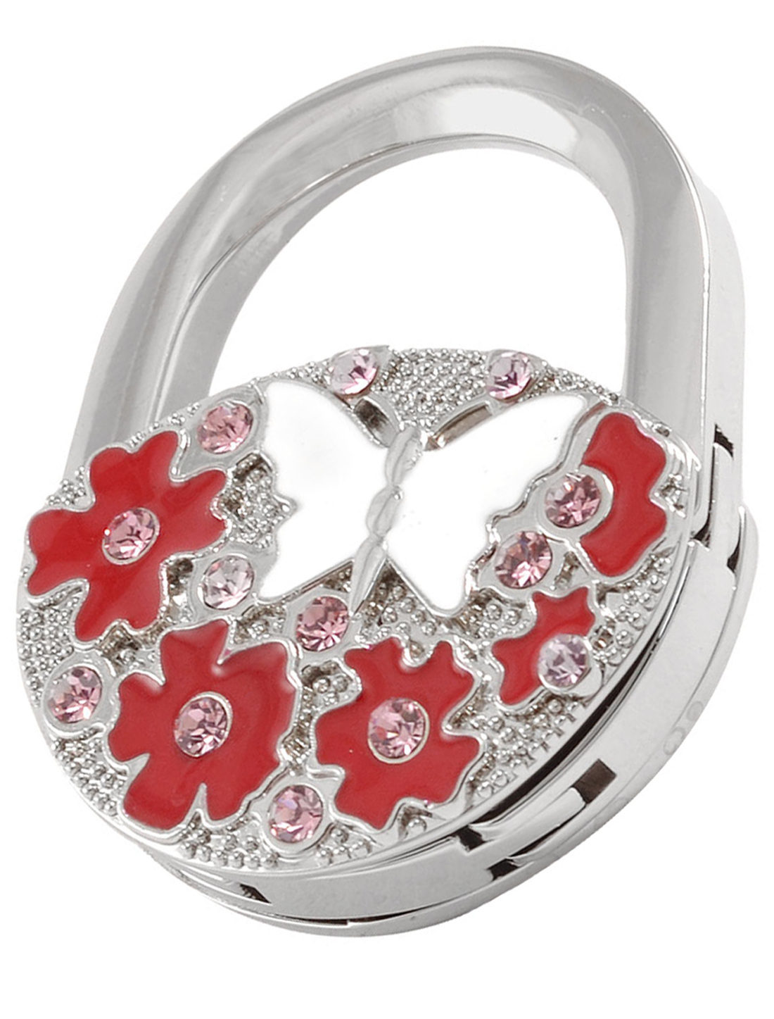 Red Flowers White Butterfly Design Rhinestone Inlaid Padlock Handbag Hook Hanger