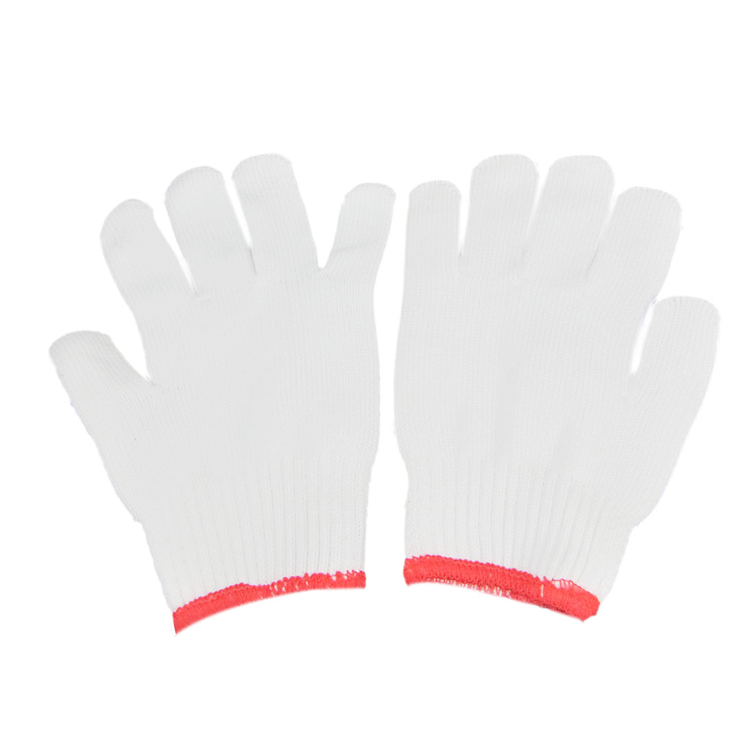 2 Pairs Red Cuff White Knitted Winter Protecting Safe Work Gloves