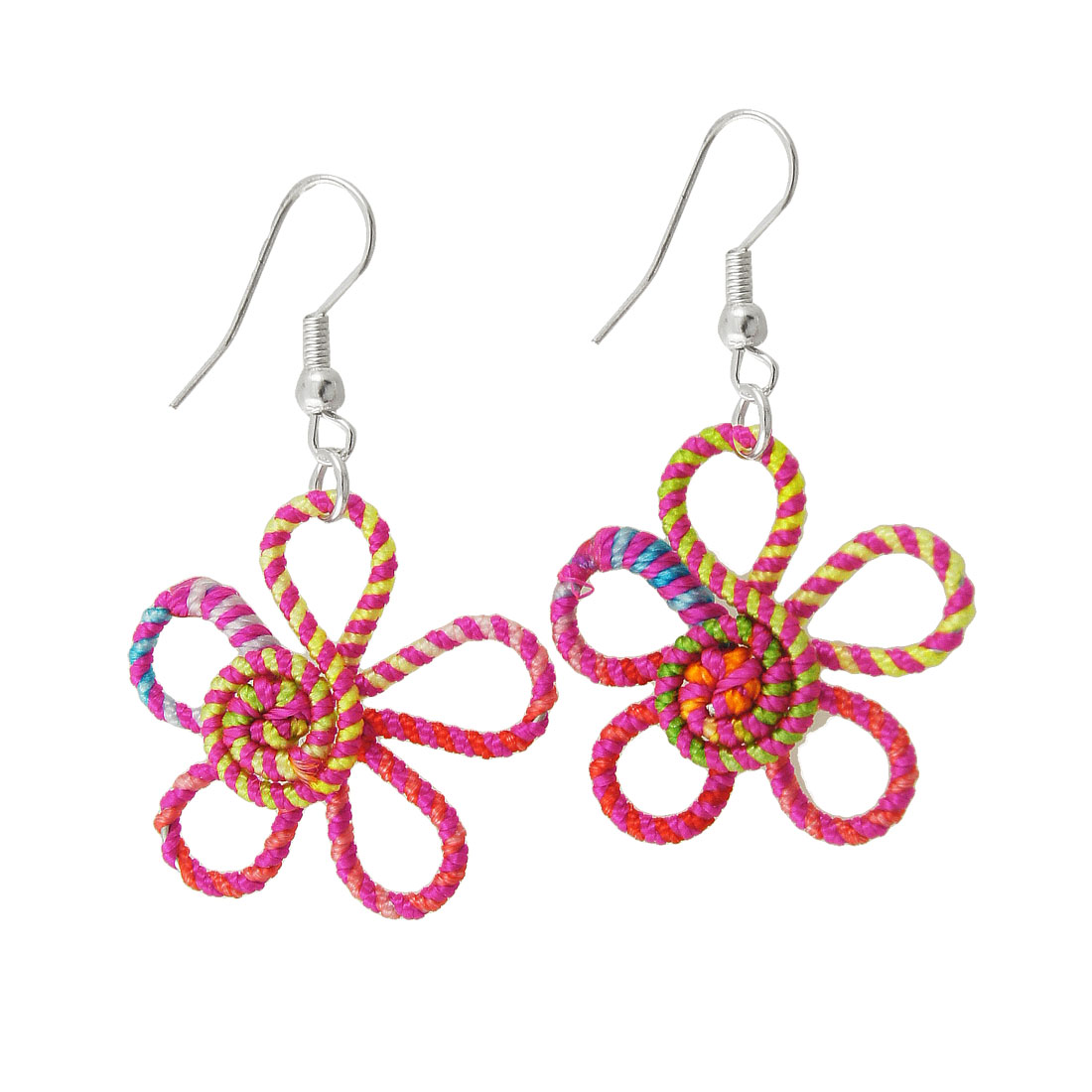 Pair Colorful Flower Shaped Pendant Earrings Gift for Ladies