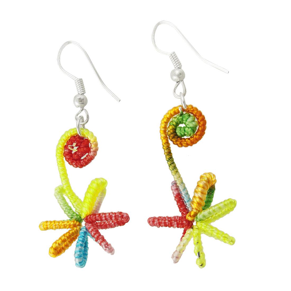 Ladies Colorful Nylon Coated Flower Pendant Dangle Earrings Gift
