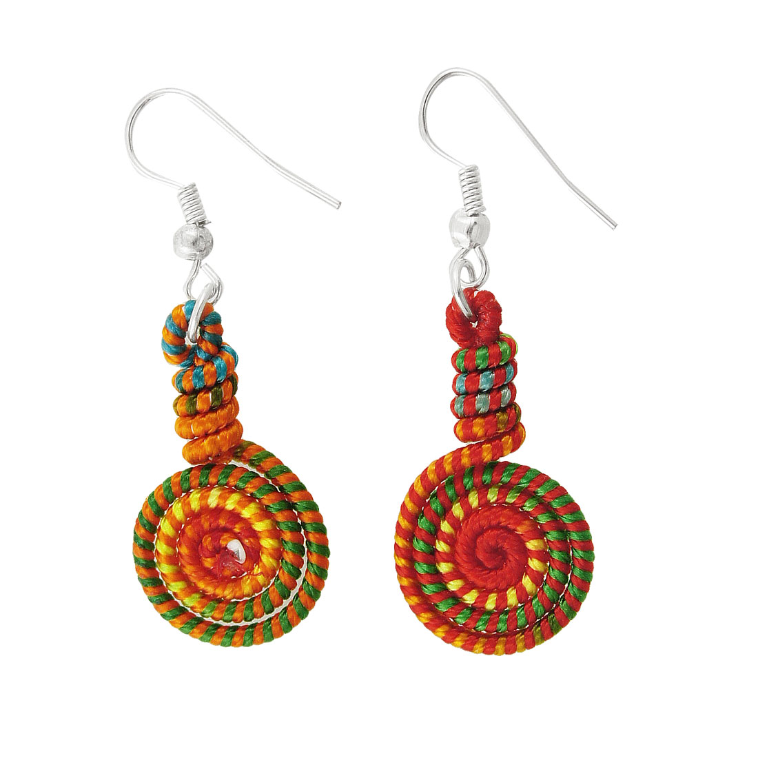 Women Colored Nylon Coated Round Spiral Pendant Earrings Gift