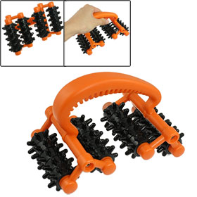Orange Black Hard Plastic 4 Rotating Wheels Body Roller Massager