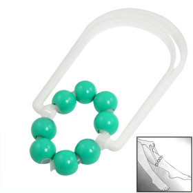 Green White Plastic Body Leg Relax Massage Ball Roller Massager