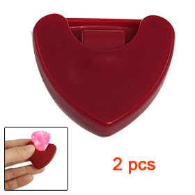 Red Plastic Heart Shaped Guitar Pick Case Holder 2 Pcs