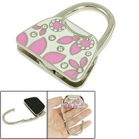 Pink Leaf Pattern Handbag Design Folding Purse Hook Table Holder