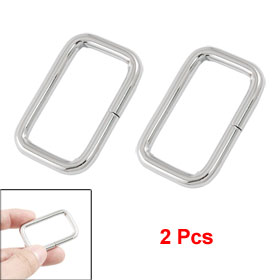 Pair Rectangular Silver Tone Metal Decorating Shoes Buckles