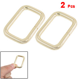 Handbag Adornment Gold Tone Metal Rectangle Shape Buckle 2 Pcs