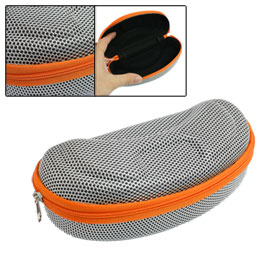Gray Orange Nylon Mesh Zipper Closure Flannel Lining Eyeglasses Case