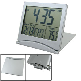Foldable Battery Supply Desktop Calendar Temperature Digital Alarm Clock
