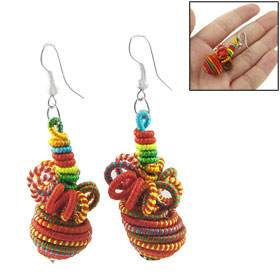 Ladies Colorful Octopus Shape Pendant Fish Hook Earrings