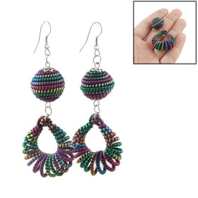 Pair Colorful Teardrop Ball Pendant Earrings Gift for Ladies