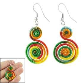 Woman Colorful Spiral Shaped Pendant Dangle Earrings Eardrop