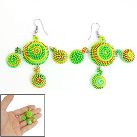 Lady Colorful Circinate Shape Handmade Fish Hook Nylon Coated Earrings Pair