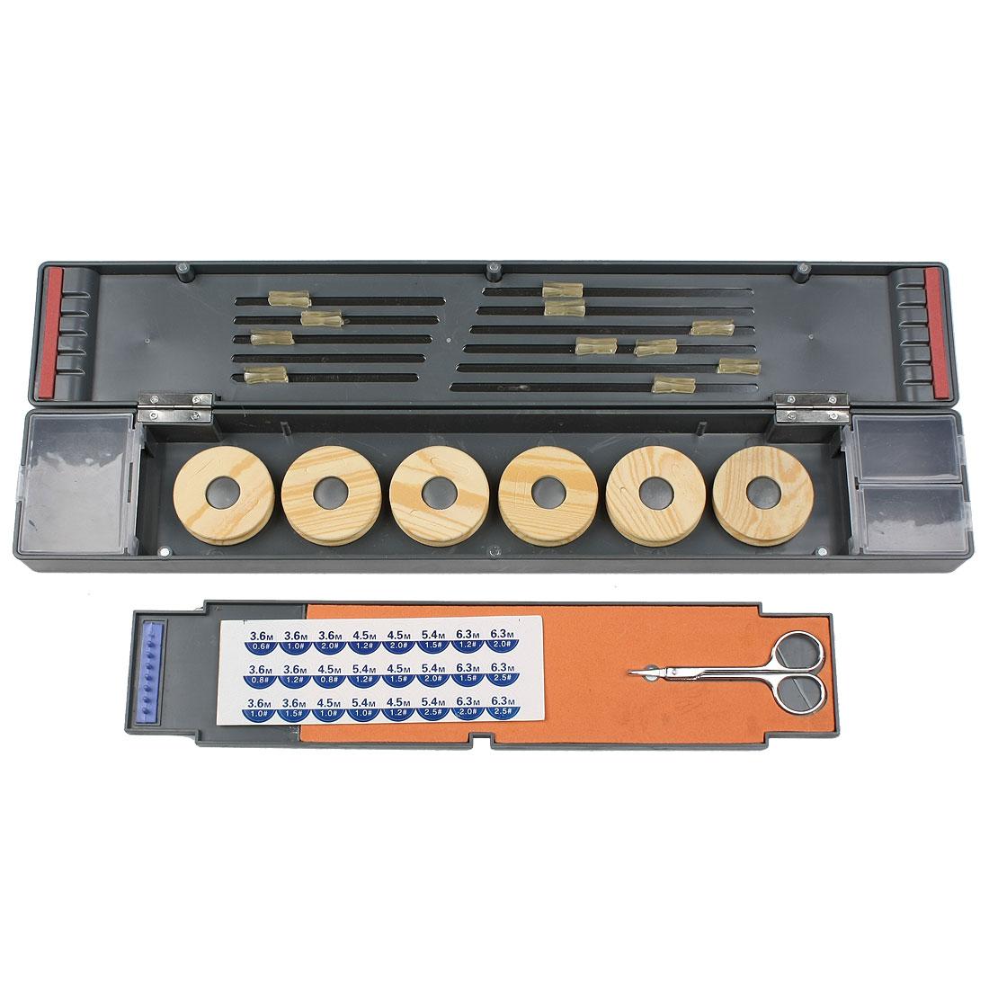 Fishing Float Fishhook Storage Case Box Holder + Scissors + 6 Foam Spool