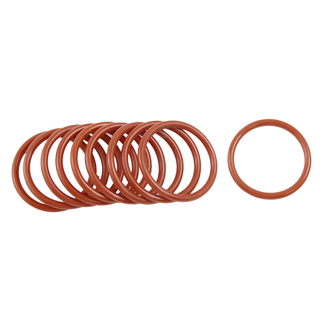 10 Pcs 28mm OD 2.5mm Thickness Dark Red Silicone O Rings Oil Seals Gasket