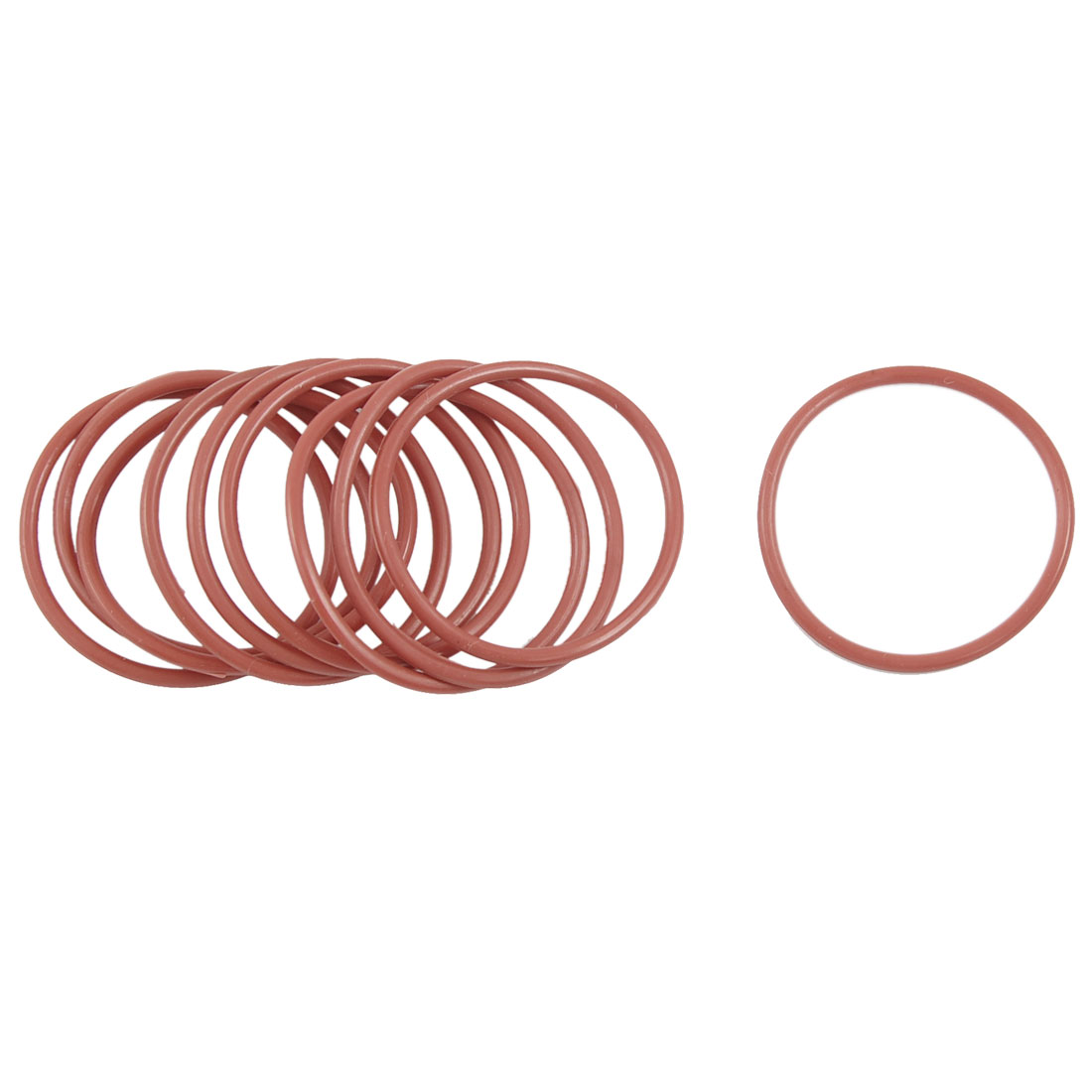 10 Pcs 35mm OD 2mm Thickness Dark Red Silicone O Ring Oil Seals Gaskets