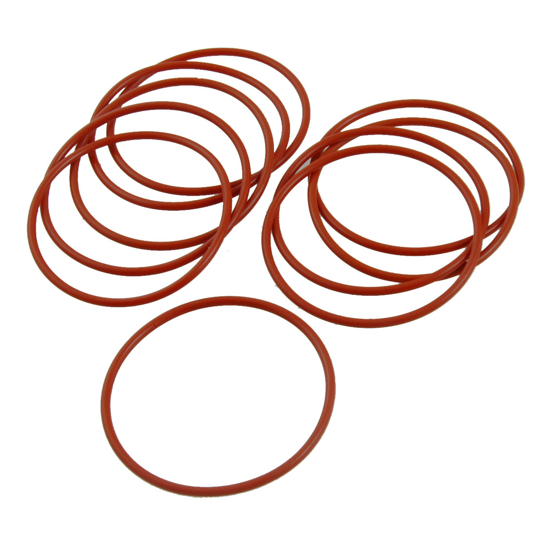 10 Pcs 50mm OD 2mm Thickness Red Silicone O Ring Oil Seals