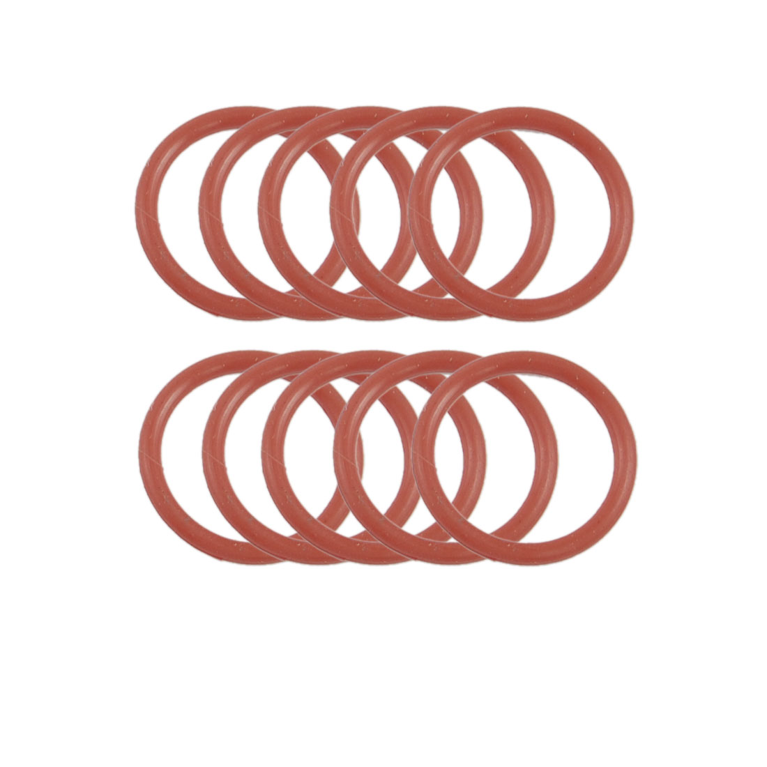 19mm OD 2mm Thickness Dark Red Silicone O Ring Oil Seal Gasket 10 Pcs