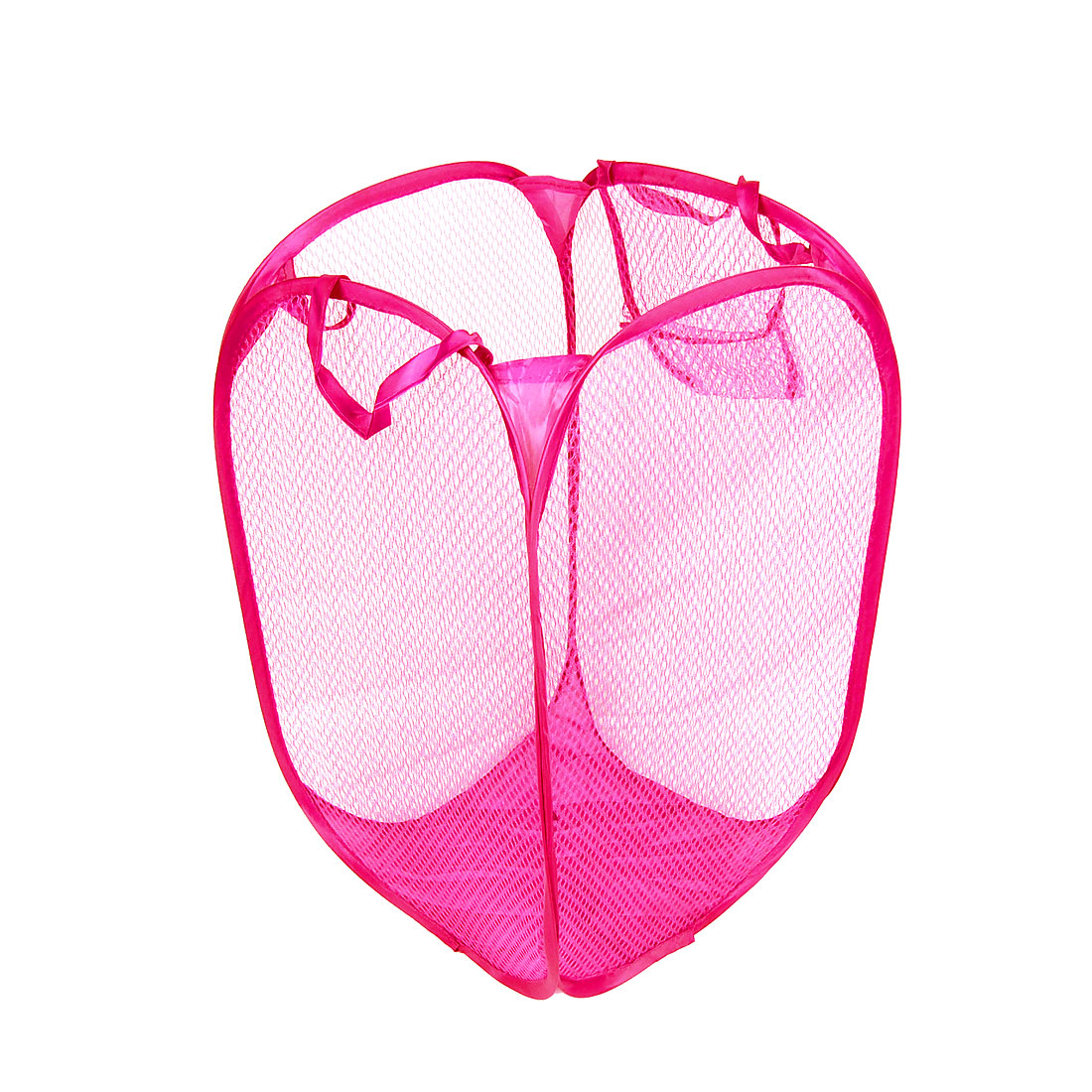 Foldable Fuchsia Mesh Design Clothes Storage Laundry Basket Hamper