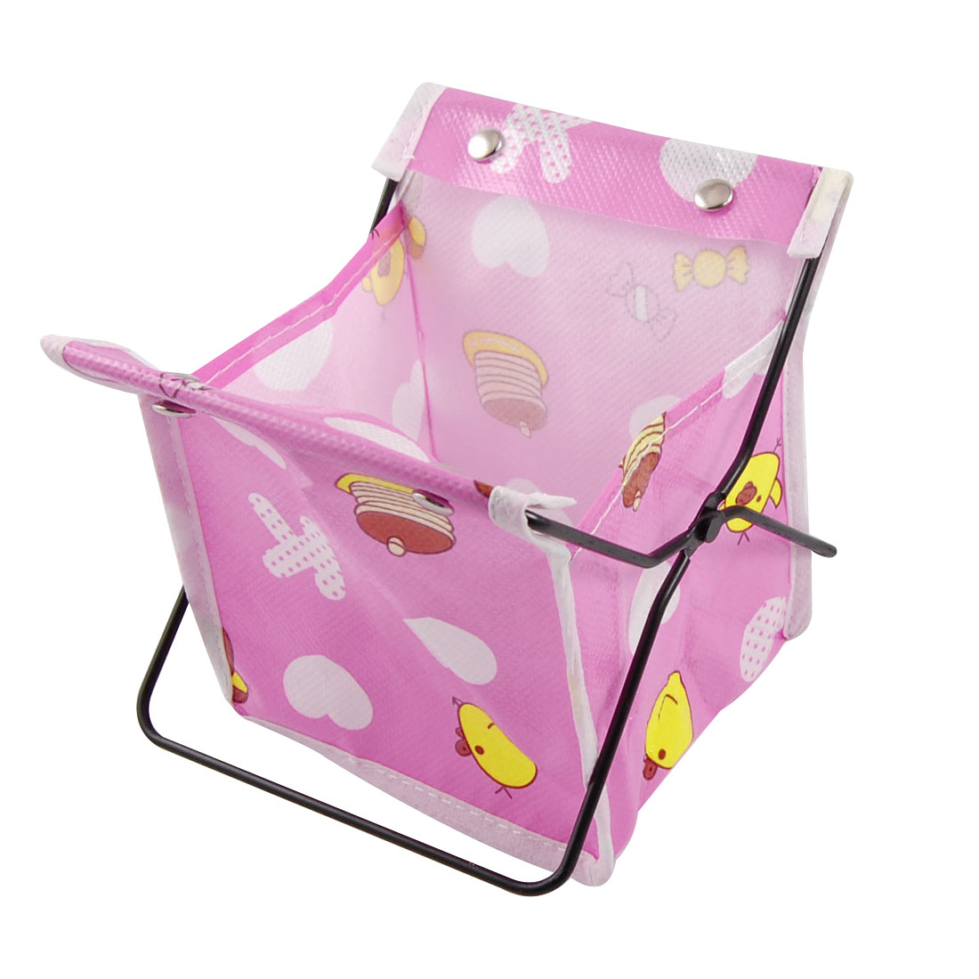 Mini Fuchsia Folding Gadgets Holder White Hearts Decor Bag Storage Rack