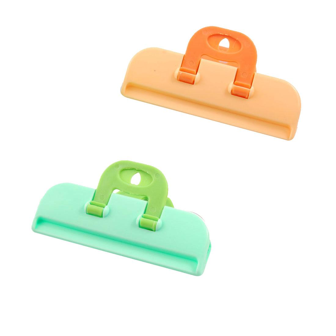 2 Pcs Food Storage Bag Orange Green Plastic Sealing Clip Clamp