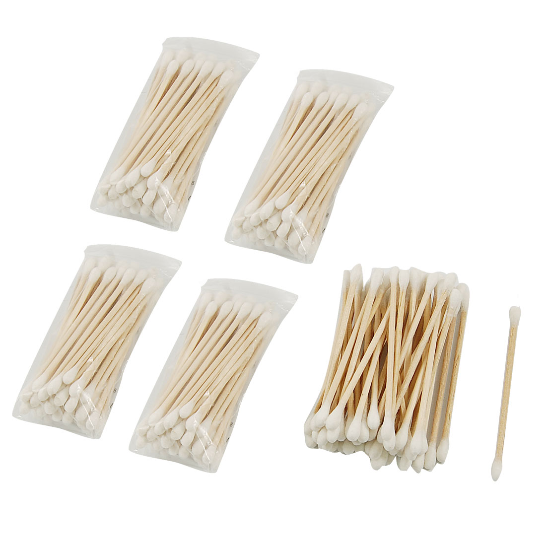 5 Packs Disposable Double Head Wooden Stick Cotton Swabs Buds