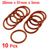 10 Pcs 31mm OD 3mm Thickness Red Silicone O Ring Oil Seals