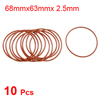 10 Pcs 68mm OD 2.5mm Thickness Dark Red Silicone O Rings Oil Seals Gasket