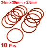 39mm x 34m x 2.5mm Red Silicone O Ring Oil Seals 10 pcs