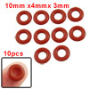 10mm x 3mm Silicone O Ring Oil Sealing Washers Grommets Red 10 Pcs