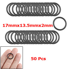 17mmx13.5mmx2mm Automobile Sealing NBR O Rings Washers 50 Pcs